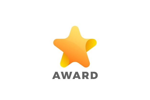 Conception géométrique du logo étoile. logotype du prix du gagnant préféré
