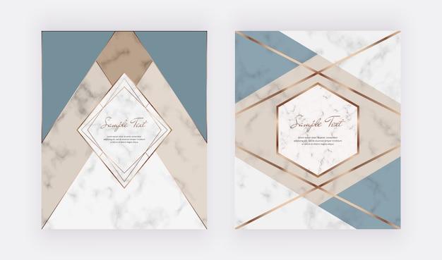 Conception géométrique avec des formes triangulaires, des cadres polygonaux et des lignes dorées sur la texture du marbre.