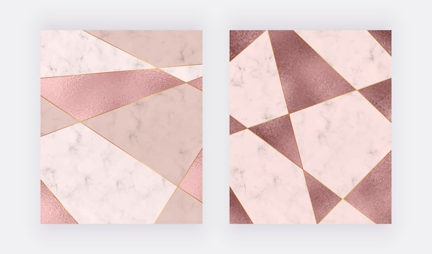 Conception géométrique en marbre avec texture de feuille triangulaire or rose et rose, lignes polygonales dorées.