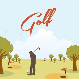 Conception de golf au cours de l'illustration vectorielle fond paysage