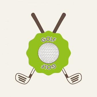 Conception de golf sur illustration vectorielle fond blanc
