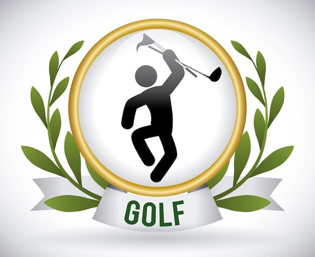 Conception de golf sur illustration vectorielle fond gris