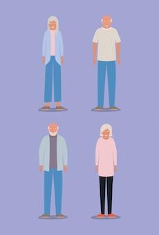 Conception de grands-mères et grands-pères, aîné personne âgée famille grands-parents senior et personnes thème illustration