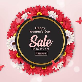 Conception graphique de bannière de vente heureuse journée des femmes