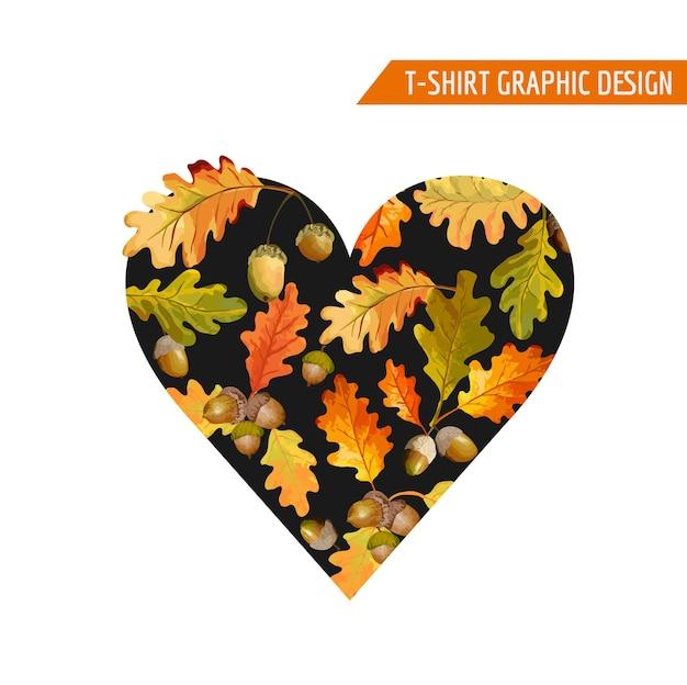 Conception graphique de coeur d'automne floral