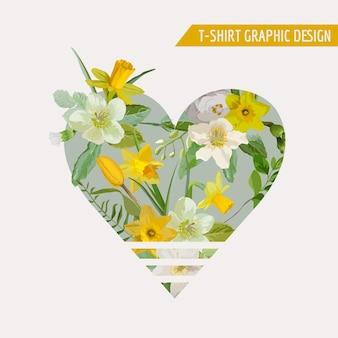 Conception graphique de coeur de fleur