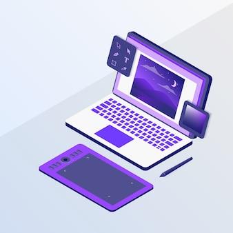 Conception graphique ou concepteur avec ordinateur portable et outils de tablette à stylo esquisse avec style isométrique