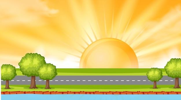 Conception graphique du paysage de la route le long de la rivière au coucher du soleil