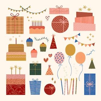 Conception graphique d'éléments de célébration. éléments pour la décoration. éléments de joyeux anniversaire.