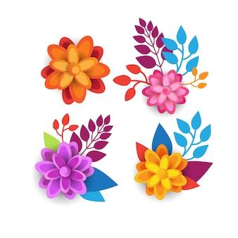 Conception graphique des éléments floraux colorés avec des fleurs de printemps