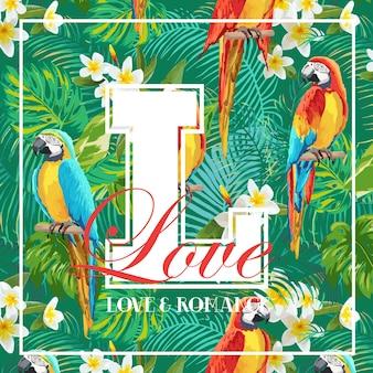 Conception graphique de feuilles tropicales vintage, de fleurs et d'oiseaux perroquets