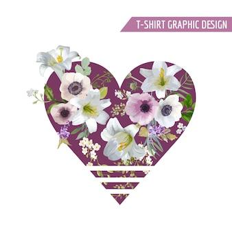 Conception graphique de fleurs colorées vintage