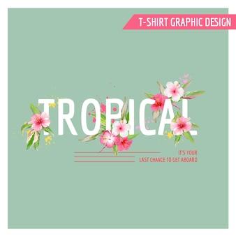 Conception graphique de fleurs tropicales - pour t-shirt, mode, imprimés