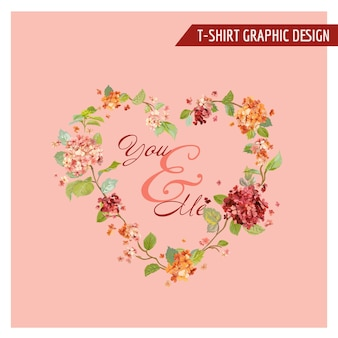 Conception graphique florale vintage hortensia