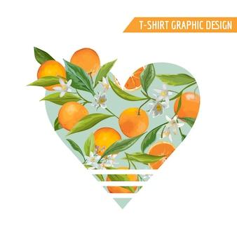 Conception graphique de fruits orange