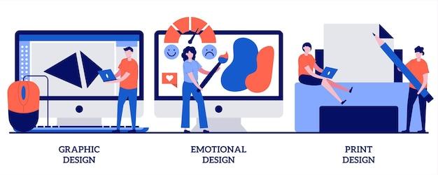 Conception graphique et imprimée, illustration d'engagement émotionnel avec des personnes minuscules