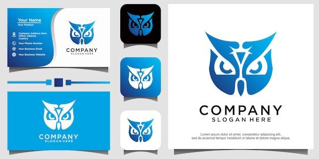 Conception graphique de logo d'oiseau de hibou, symbole de sagesse