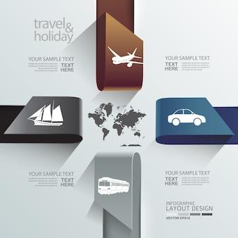 Conception graphique mise en page info pour modèle de voyage