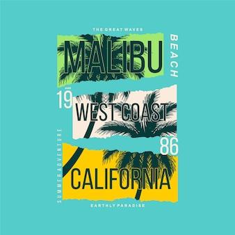 Conception graphique de la plage de malibu sur le thème de l'été avec fond de silhouette de palmier