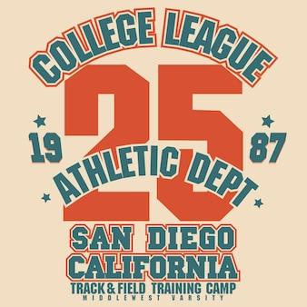 Conception graphique de t-shirt athlétique. les surfeurs californiens portent un tampon. emblème de typographie sportive