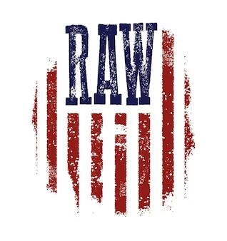 Conception graphique de t-shirt avec drapeau américain et texture grunge.