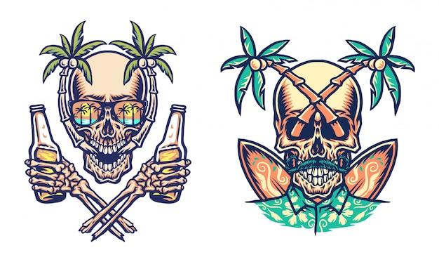Conception graphique de t-shirt de plage d'été de crâne, ligne dessinée à la main avec couleur numérique, illustration