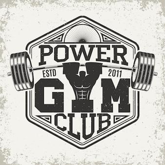 Conception graphique de t-shirt vintage, timbre imprimé grange, emblème de typographie de remise en forme, logo de sport de gym design créatif