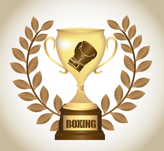 Conception graphique trophée de boxe