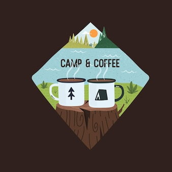 Conception graphique de vecteur de camp et de café sur le fond noir