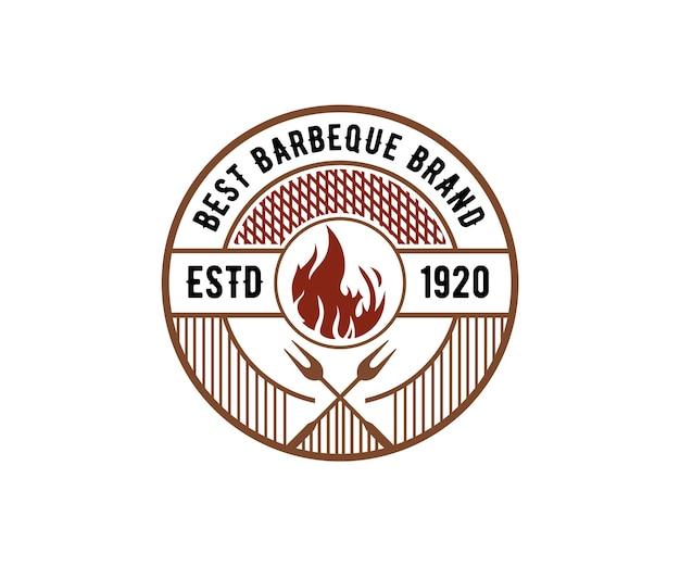 Conception de gravure de logo de barbecue de luxe vintage barbecue fumoir bar et grill barbecue