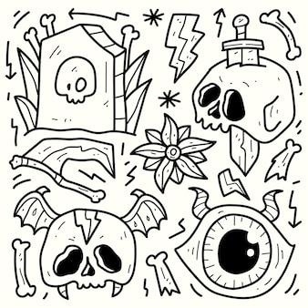 Conception de griffonnage de dessin animé halloween dessiné à la main