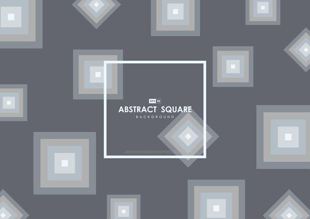 Conception grise abstraite de style géométrique de motif carré