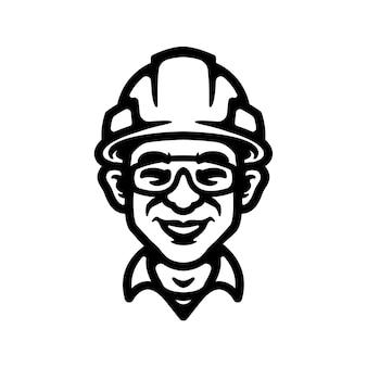 Conception en gros plan du logo du travailleur, parfaite pour le logo, l'icône, l'impression ou etc.