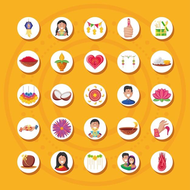 Conception de groupe d'icônes de style détaillé bhai dooj, festival et célébration