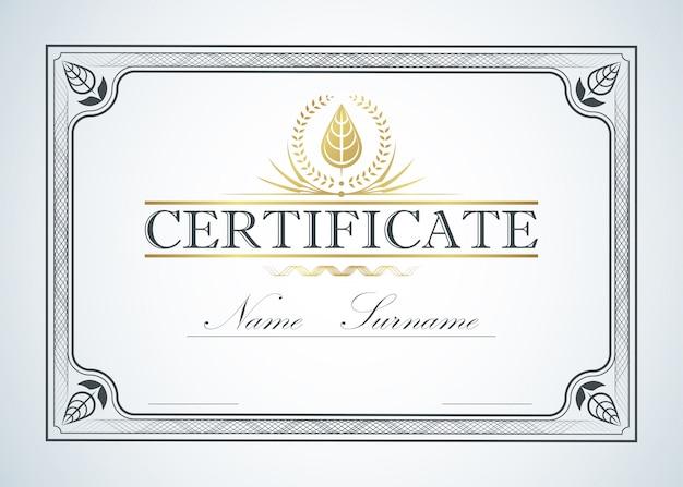 Conception de guide de modèle cadre frontière certificat. certification rétro vintage luxe