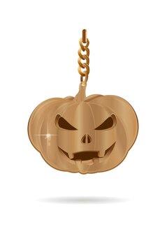 Conception d'halloween. décoration dorée en forme de lampe jacks. jack-o-lanterne d'or. illustration vectorielle isolée sur fond blanc