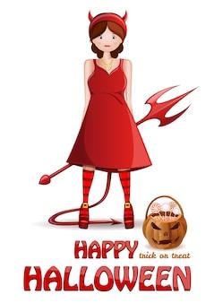 Conception d'halloween heureux. jolie fille dans un costume de démon rouge avec un panier de bonbons.