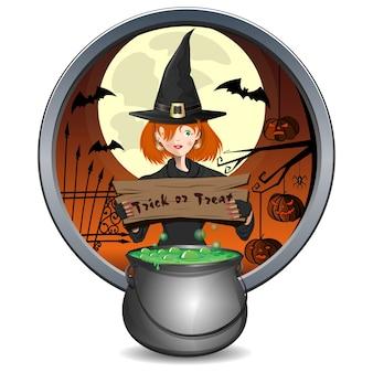 Conception d'halloween. jeune sorcière tenant une pancarte avec l'inscription - truc ou friandise. chaudron magique de bière verte