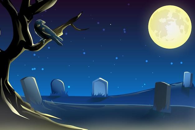 Conception d'halloween de pleine lune de cimetière de corbeau de fond