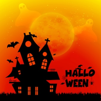 Conception d'halloween avec la typographie et vecteur de fond sombre