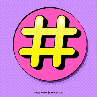 Conception de hashtag pourpre et jaune