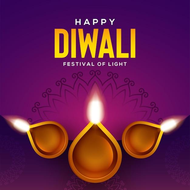 Conception heureuse de diwali avec des éléments de lampe à huile diya sur fond rose, effet scintillant bokeh