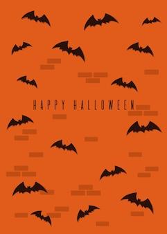 Conception heureuse d'halloween. blak chauves-souris sur un fond de mur de brique orange. illustration vectorielle