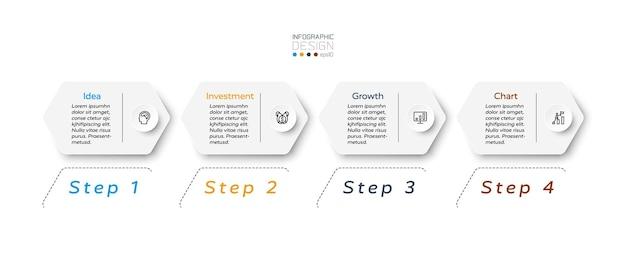 Conception hexagonale 4 étapes infographiques.