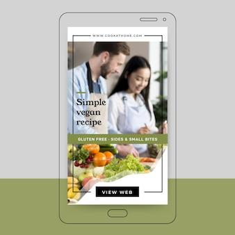 Conception de l'histoire instagram de recette végétalienne