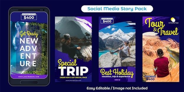 Conception d'histoires sur les médias sociaux pour la promotion d'une agence de voyages