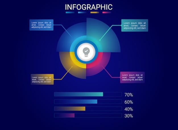 Conception hologramme infographique avec dégradé de couleur