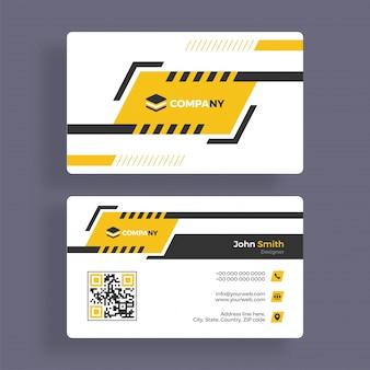 Conception horizontale de carte d'affaires en couleur jaune et grise pour vos besoins d'entreprise.