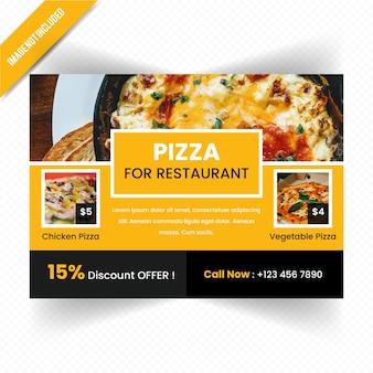 Conception horizontale de flyer de nourriture pour le restaurant