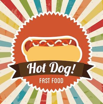 Conception de hot-dog au cours de l'illustration vectorielle fond grunge